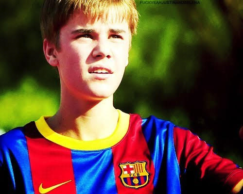 Justin Bieber playing football